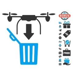 Drone Drop Trash Icon With Free Bonus vector image