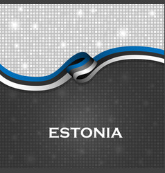 Estonia flag ribbon shiny particle style vector