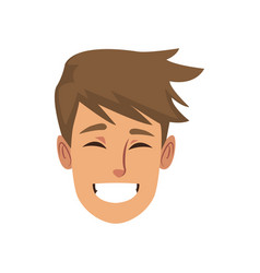 happy male face smile character funny vector image