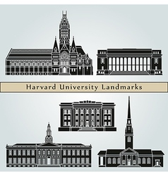 Harvard university landmarks and monuments vector
