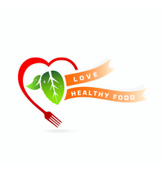 Healthy food Love healthy food concept vector image vector image