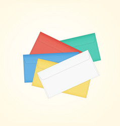 Isolated closed colored pile of envelopes vector