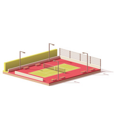 low poly tennis court vector image vector image