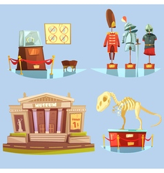 Museum retro cartoon 2x2 flat icons set vector