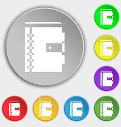 notebook icon sign Symbol on eight flat buttons vector image