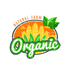 Organic food natural farm with corn logo vector