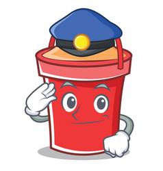 Police bucket character cartoon style vector