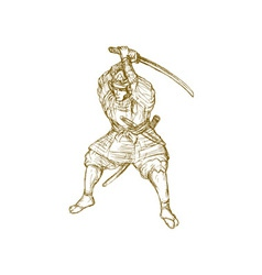 samurai warrior with sword in fighting stance vector image vector image