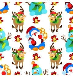 seamless pattern with Christmas decorations vector image vector image