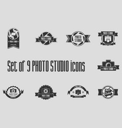 set of 9 photo studio labels badges and logo vector image