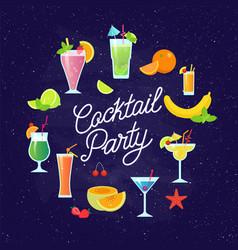 set of tasty colorful cocktails flat design vector image vector image