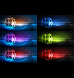 Set of techno earth planet concept backgrounds vector