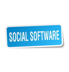 social software square sticker on white vector image vector image