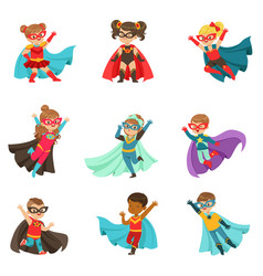 Super kids set boys and girls in superhero vector