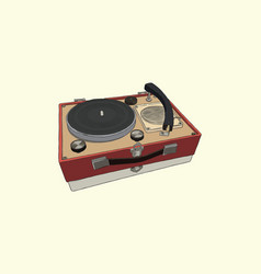 vintage turntable record player vinyl record vector image vector image