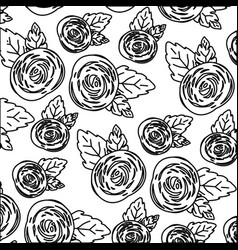 White background with monochrome pattern of rose vector