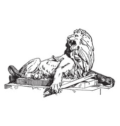 Wounded lion is a sculpture found in vector