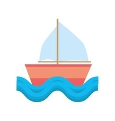 Sailing ship vacation travel beach vector