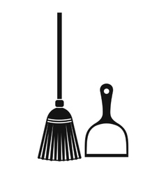 Broom and dustpan icon simple style vector image