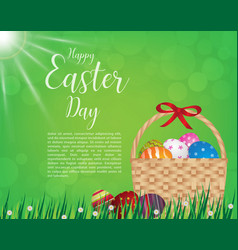 Happy easter day design basket of easter eggs on vector