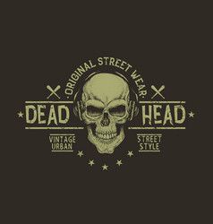 Street style label of skullprints design vector