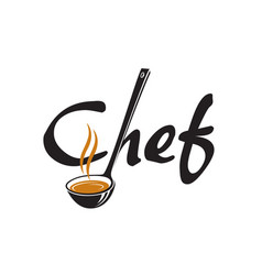 Lettering chef with ladle vector
