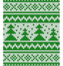 Knitted seamless pattern with fir-trees vector image