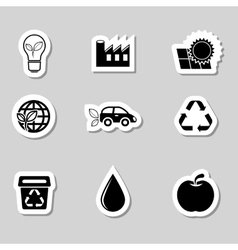 Ecology icons set as labes vector