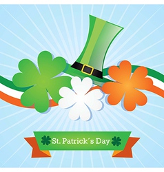 St patricks day color of ireland flag with hat and vector