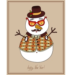 Original hipster snowman in sunglasses hat vector