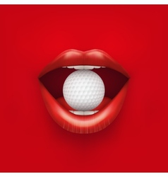 Background of Womans open mouth with golf ball in vector image