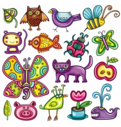 cartoon flora and fauna set vector image