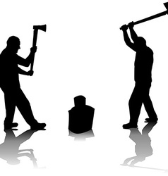 Lumberjack silhouettes vector image