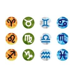 Set of astrological zodiac symbols on blurred vector