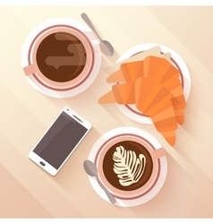 Breakfast for two with a cup of cappuccino and vector