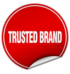 Trusted brand round red sticker isolated on white vector