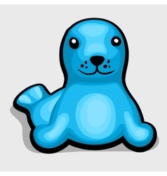 Blue seal childrens soft toy vector