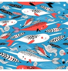 Marine seamless graphic pattern with different vector image