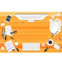 Copywriter work desktop top view with wooden vector