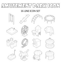Amusement park icons set outline style vector