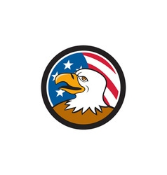 Bald eagle head smiling usa flag circle cartoon vector