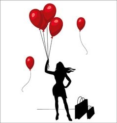 Beautiful woman shopping woman woman silhouette vector
