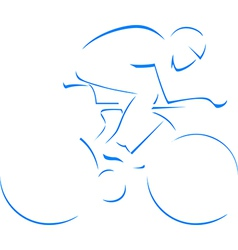 Blue silhouette cyclist vector image vector image