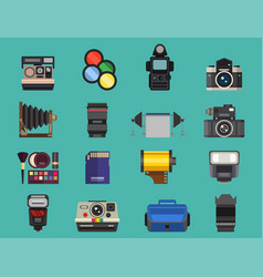 Camera photo optic lenses set different types vector