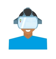 Character young man virtual reality glasses vector
