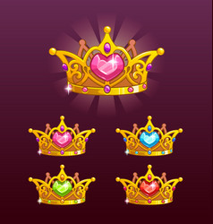 cool princess crowns set vector image