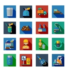 Disposal of waste colorful square icons vector