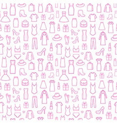 Fashion icons in seamless pattern vector image vector image