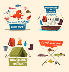 fishing icon set with boat tackle and fish catch vector image vector image