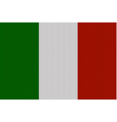 Flag of italy on knitted woolen texture knitted vector